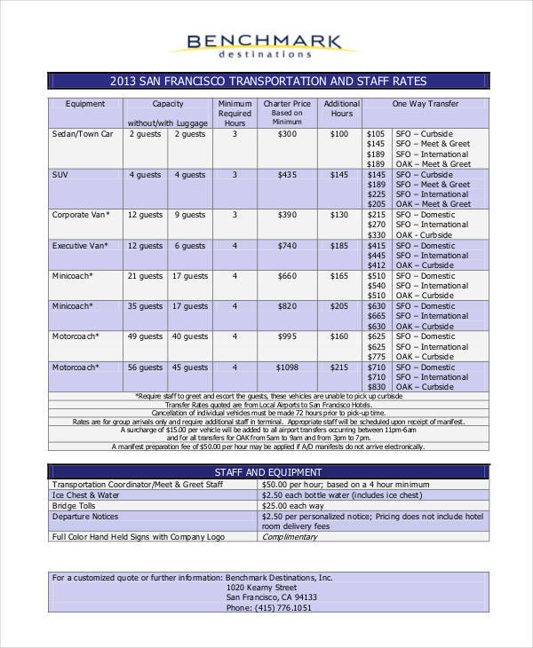 rate sheet template for transportation