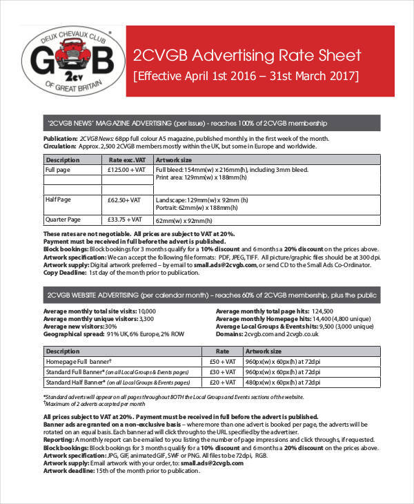 rate sheet for advertising