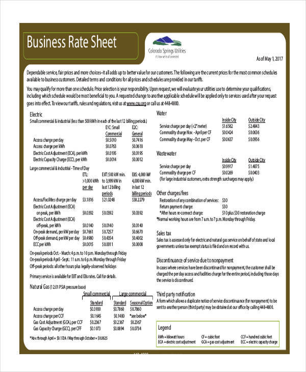 rate sheet for business