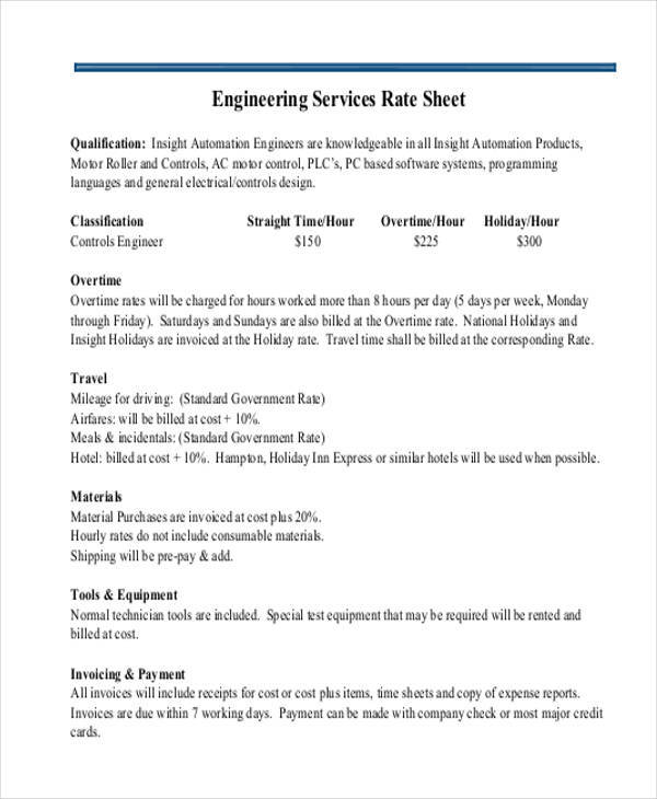 rate sheet for engineering