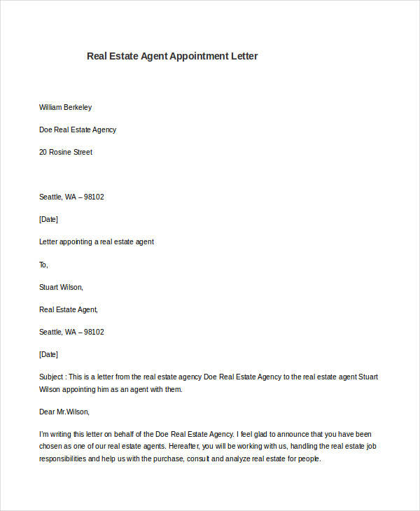 7 Sample Agent Appointment Letter - Free Sample, Example ...