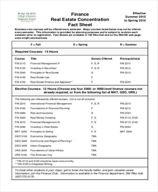 real estate fact sheet