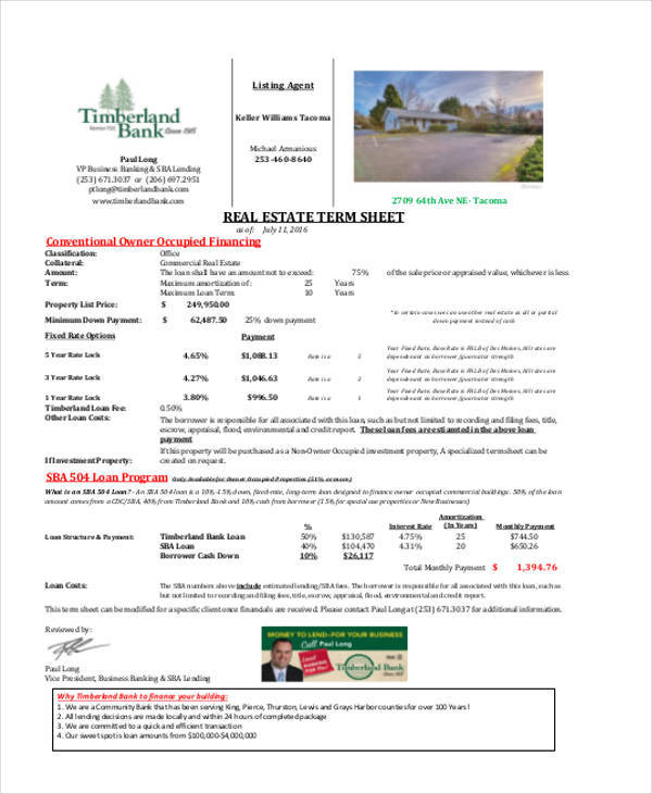 real estate term sheet