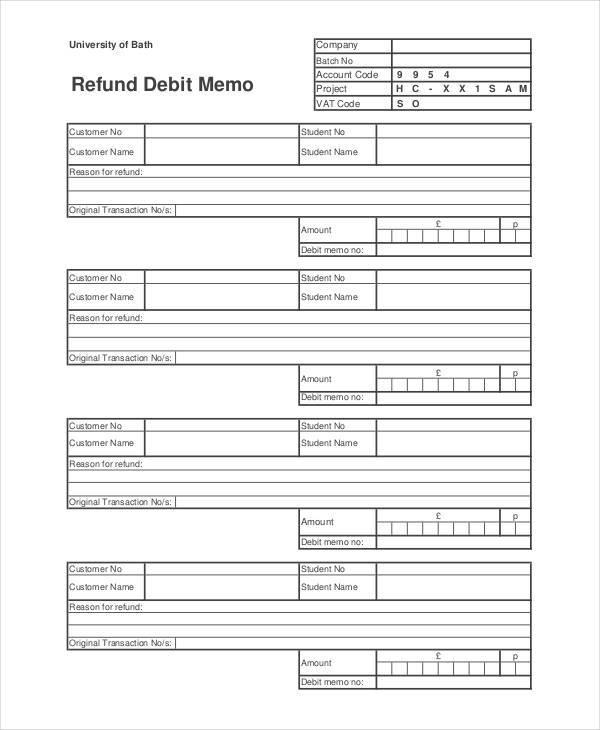 refund debit memo