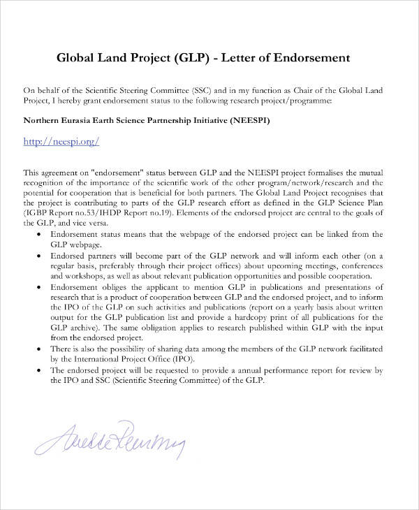 Endorsement Letter For Research Project  Sle Endorsement Letter For