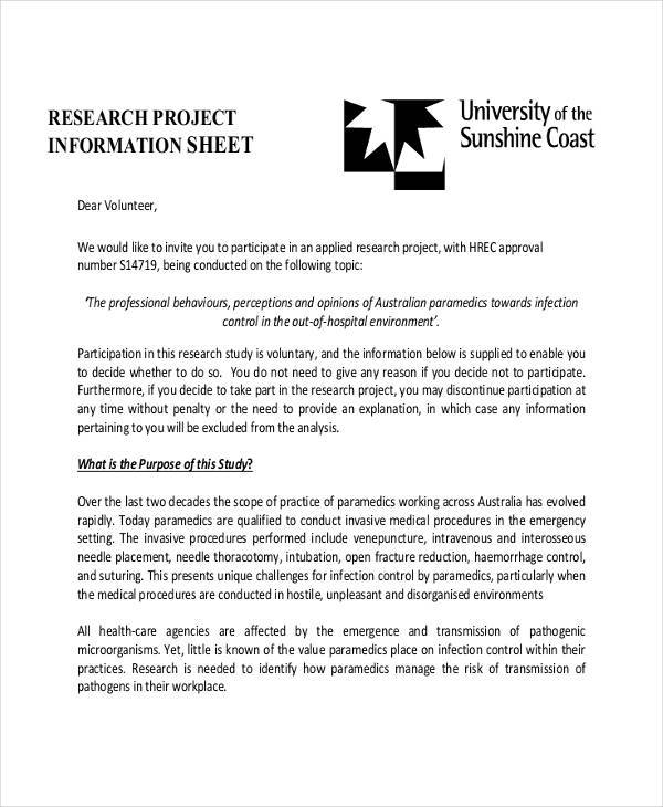 research project information sheet