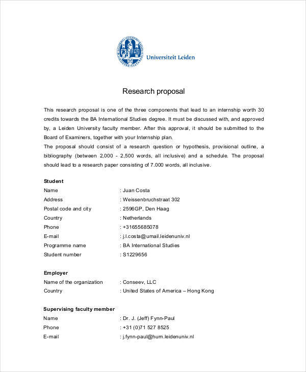 research proposal for internship
