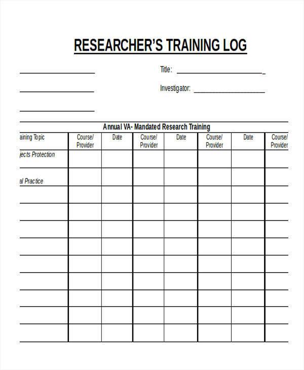 research training log