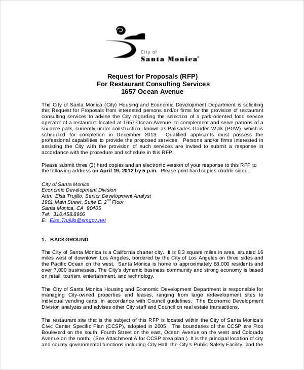 restaurant consultant proposal