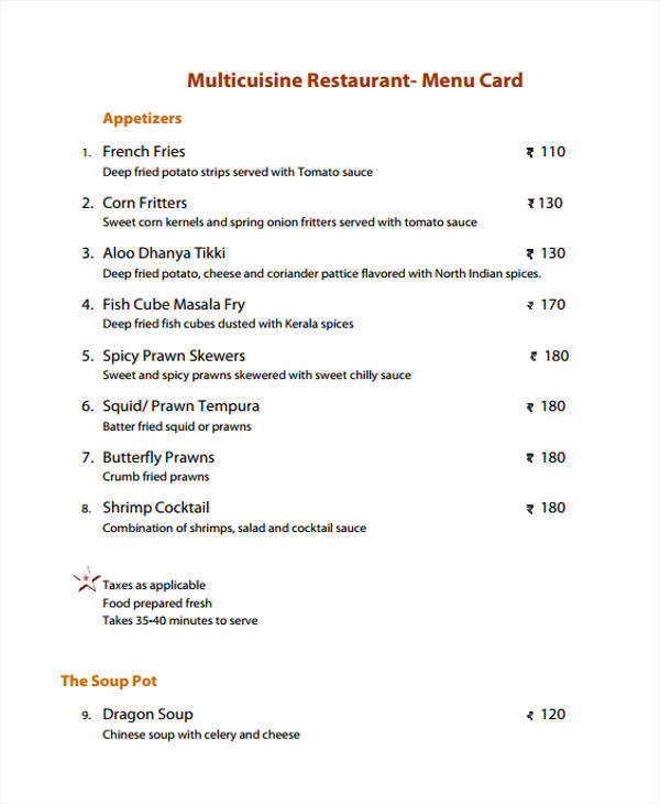 restaurant menu list