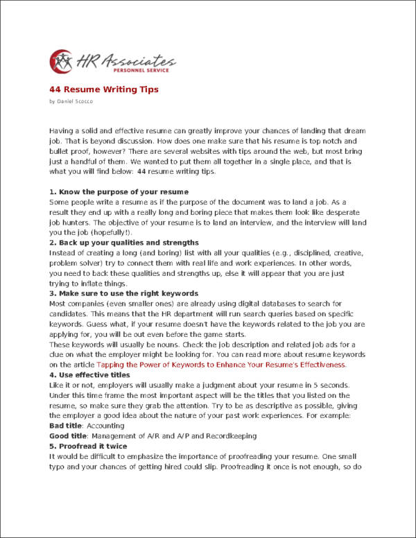 Resume Writting Tips 44 Resume Writing Tips Resume Writing