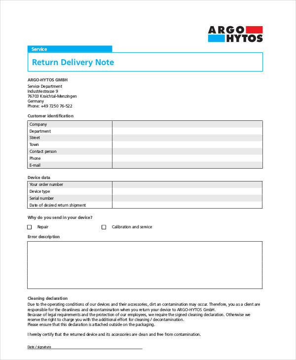 Return Delivery Note Template  Dispatch Note Template