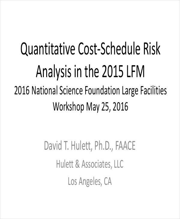 risk analysis for quantitative schedule
