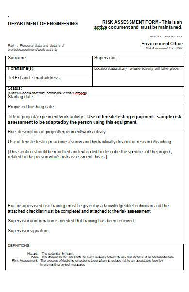 risk assessment form in ms word