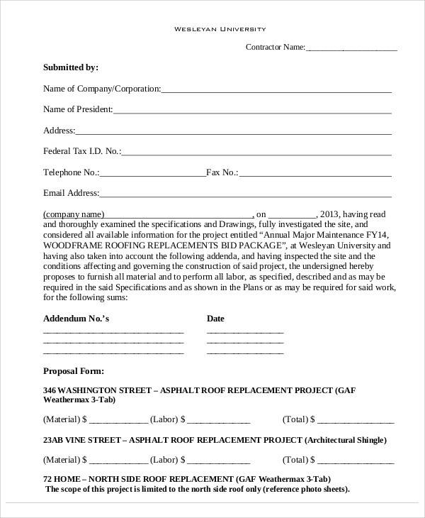 45+ Sample Proposal Forms
