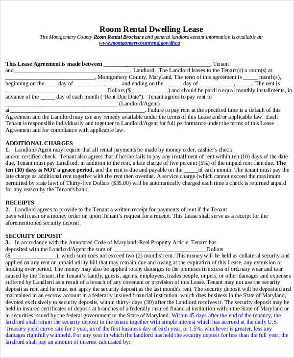 room rental lease sample agreement
