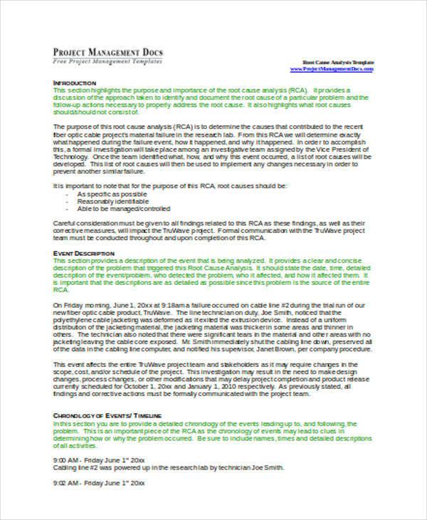 root cause analysis format pdf