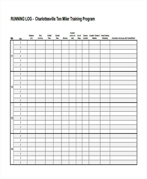 excel training log template