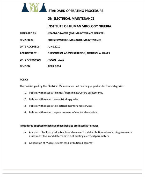 SOP Template For Electrical Maintenance