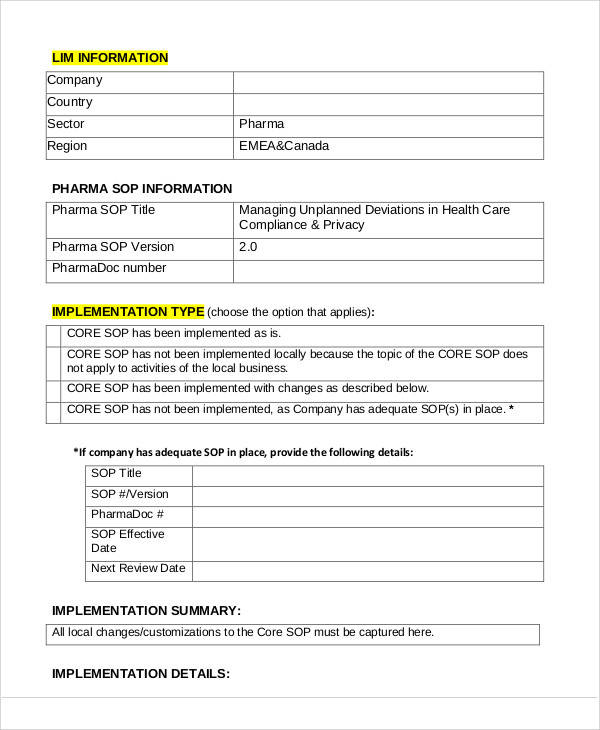 Sop Templates In Pdf