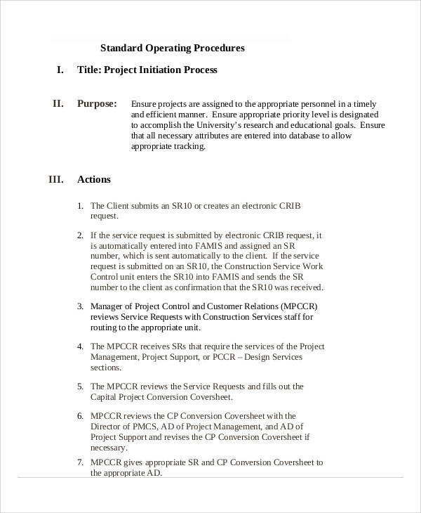 sop for project initiation