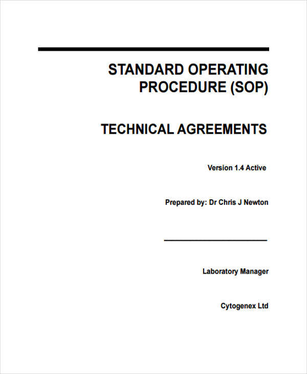 sop for technical agreement