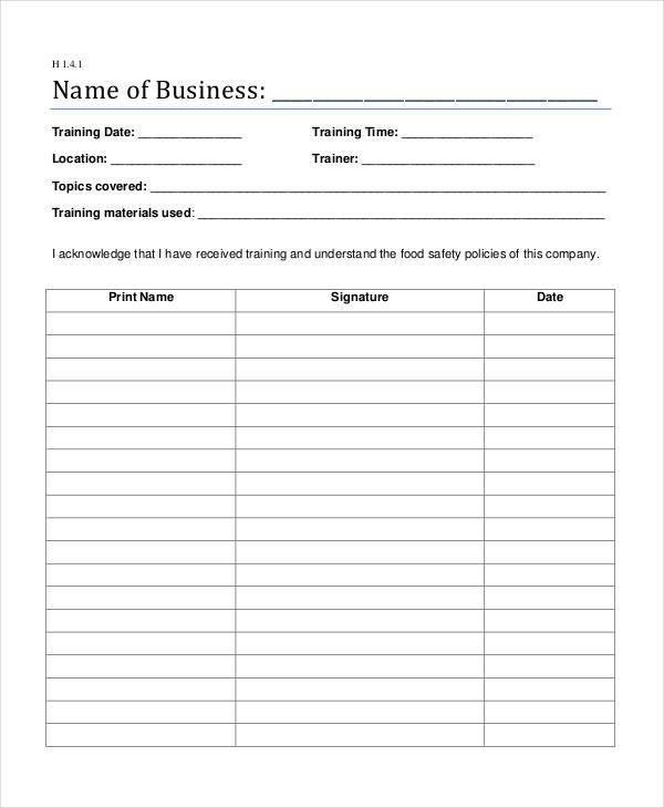 safety training log sheet