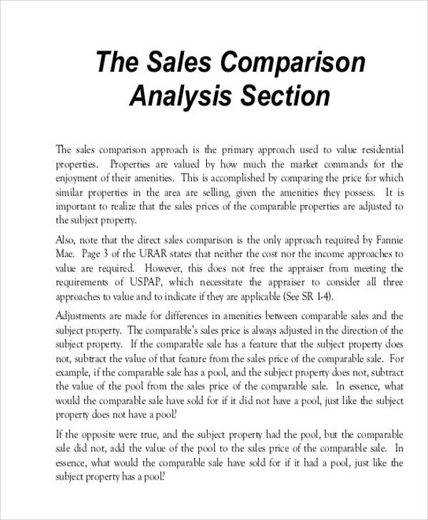 sales comparsion analysis