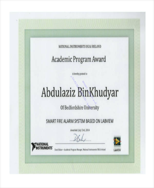 sample academic award certificate