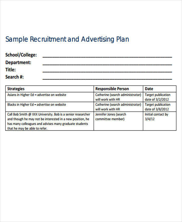 sample advertising plan