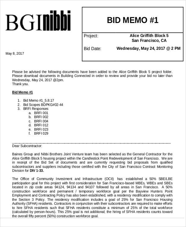 Bid Memo Templates   Examples In Word Pdf