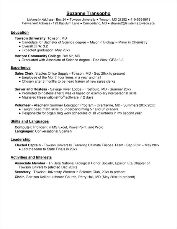 High Quality Sample Biology Major Resume  Biology Major Resume