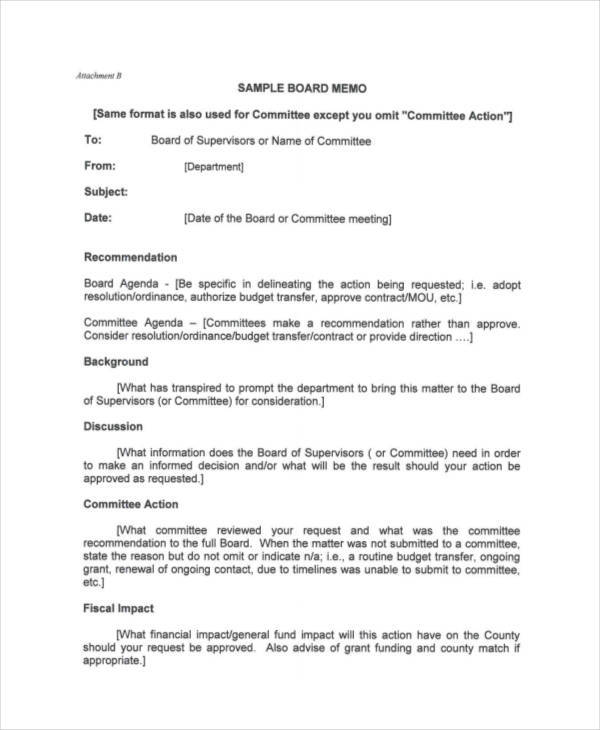 Board Memo Template  Free Sample Example Format Download