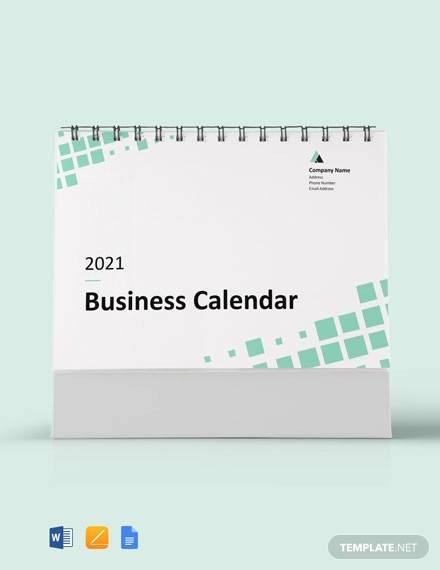 sample business desk calendar template