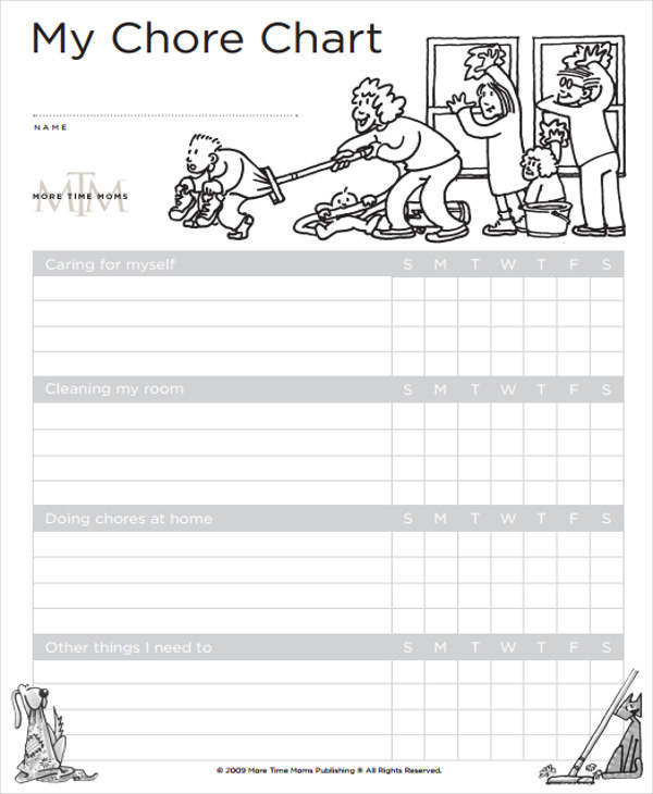 sample child chore chart