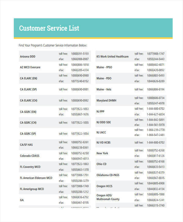 Captivating Sample Customer Service List
