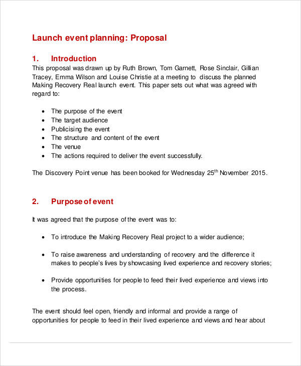 Sample Event Planning Proposal