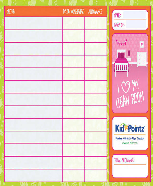 sample fillable chore chart
