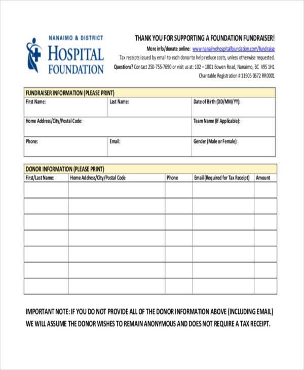 sample fundraiser receipt