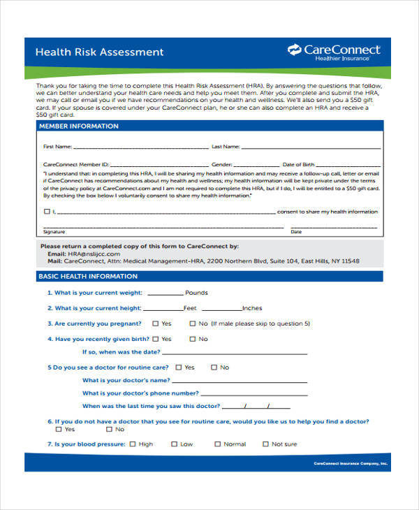 Sample Health Risk Assessment Form