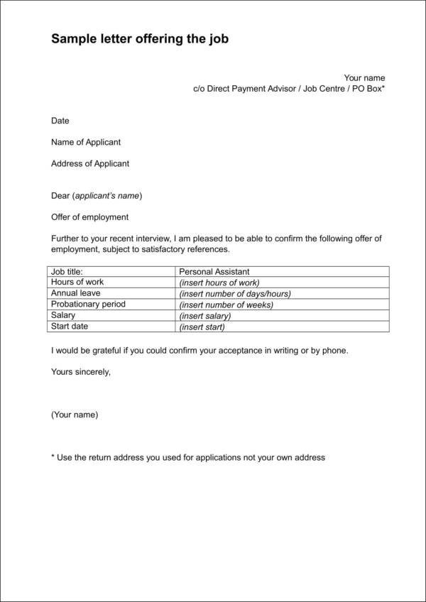 sample letter offering the job1