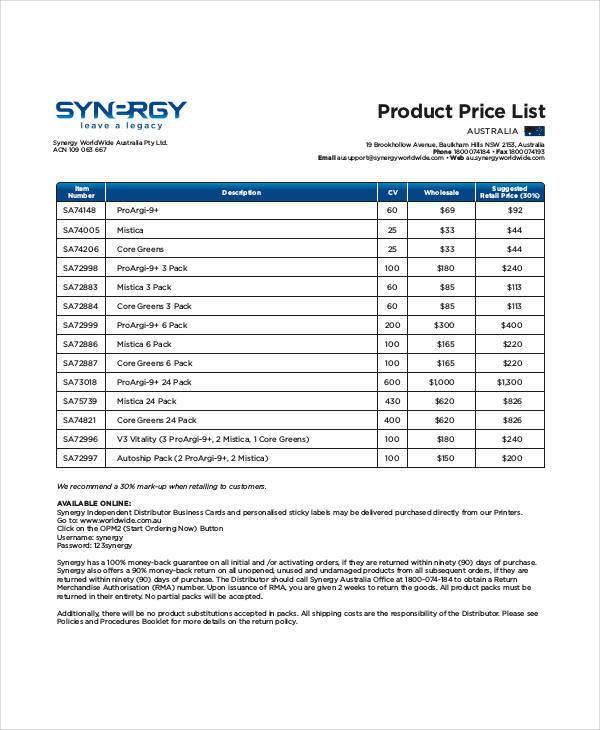 distributor price list template