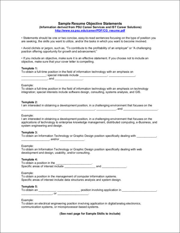 sample resume objective statements - Format Of Resume Pdf