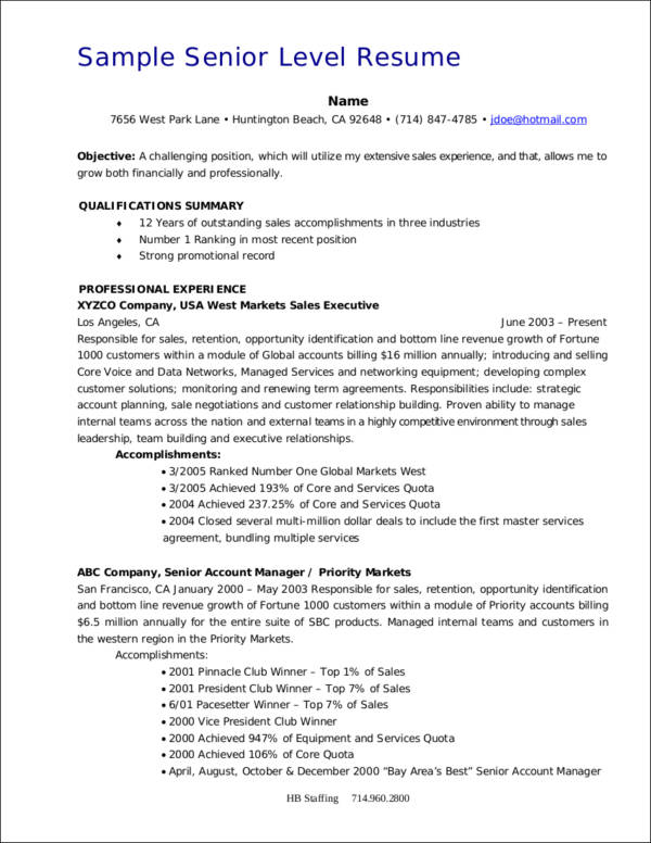 sample senior level resume