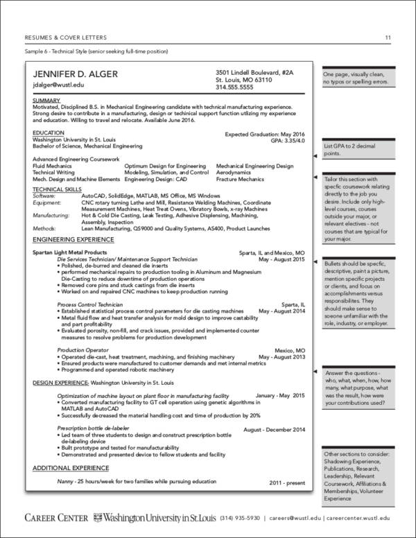 sample senior resume for full time position