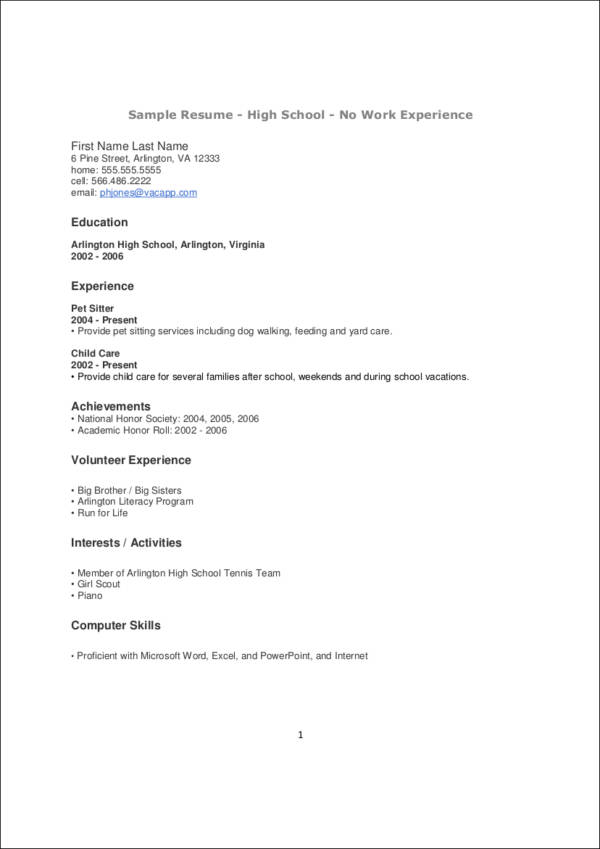 resume template high school resume template and