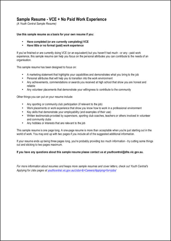 sample vce resume with no work experience - Examples Of Resumes With Little Work Experience