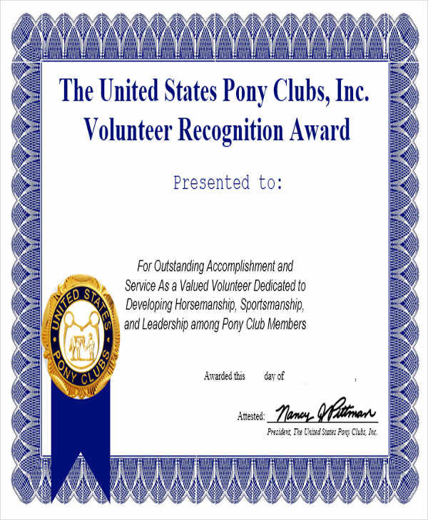sample volunteer award certificate