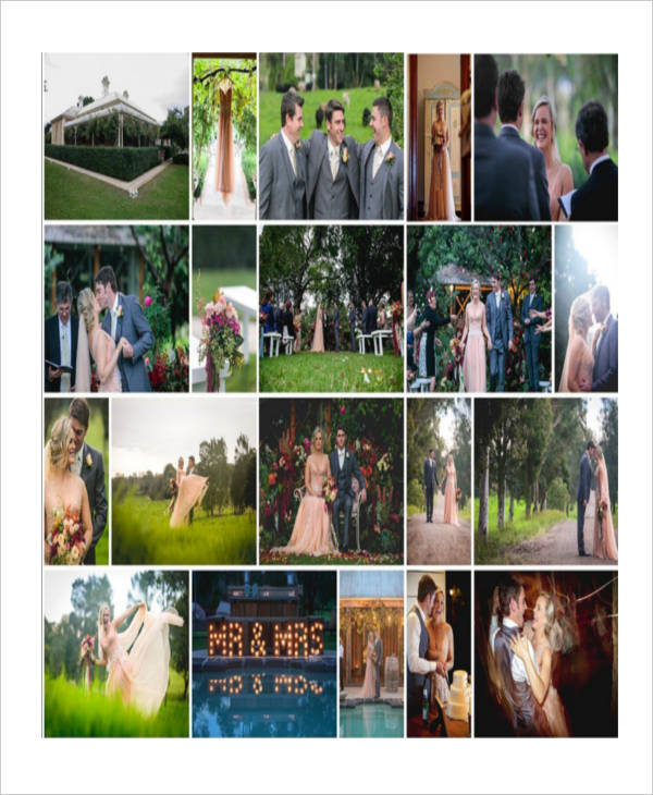 Sample Wedding Photography Storyboard