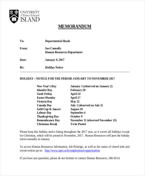 sample of holiday notice memo